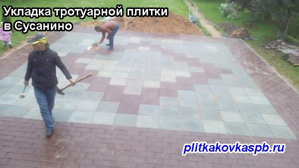 Укладка тротуарной плитки в Сусанино