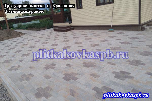 Пример укладки тротуарной плитки Брусчатка на дачев деревне Красницы Гатчинского района Ленинградской области