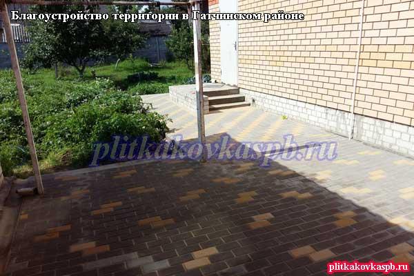 Примеры укладки тротуарной плитки в Гатчинском районе