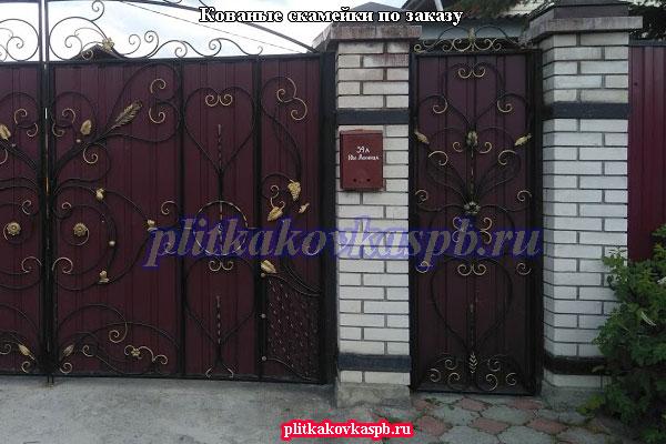 Пример кованых ворот на заказ в Ленинградской области (Тайцы)