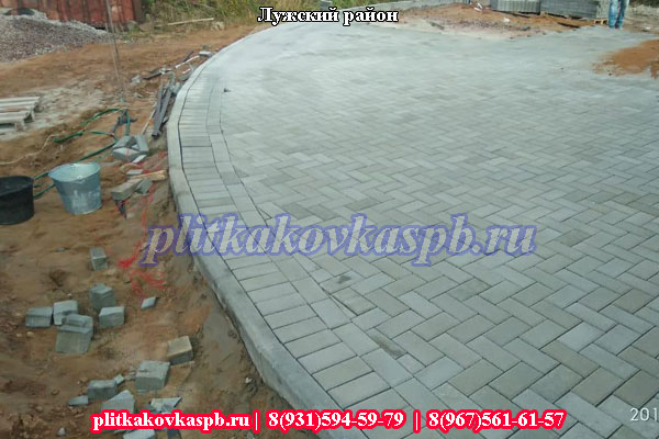 Укладка тротуарной плитки в Лужском районе